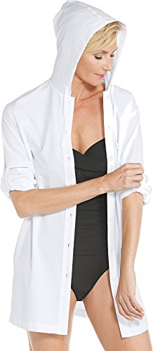 (Coolibar UPF 50+ Women's Beach Shirt - Sun Protective (Medium- White))