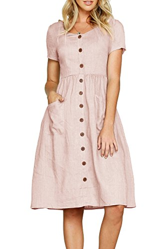 Huiyuzhi Womens Casual Short Sleeve Pockets Button Down Swing Dresses Beach Midi Dress (S, Pink) ()