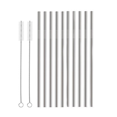 (Set of 10 Stainless Steel Straws, HuaQi Straight Reusable Drinking Straws 10.5'' Long 0.24'' Dia for 30 oz Tumbler and 20 oz Tumbler, 2 Cleaning Brush Included (10 Straight Straws + 2 Brushes))