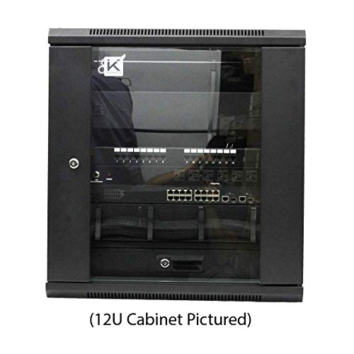 Kenuco 15U Wall Mount Rack Server Cabinet Data Network Enclosure 19-Inch Server Network Rack with Locking Glass Door ()