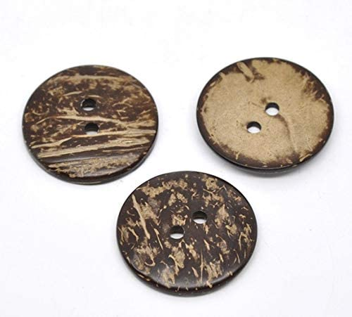 Maslin Brown 2 Holes Coconut Shell Sewing Buttons 38mm,sold per packet of 20 2016 new