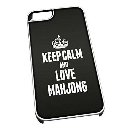 Bianco cover per iPhone 5/5S 1826 nero Keep Calm and Love Mahjong