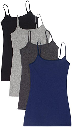 4 Pack Active Basic Women's Basic Tank Tops Small Black, Charcoal, H Gray, - Way 4 Cami