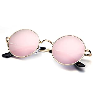 Menton Ezil Small Round Polarized Sunglasses Pink Mirrored Lens Glasses with Metal Frame