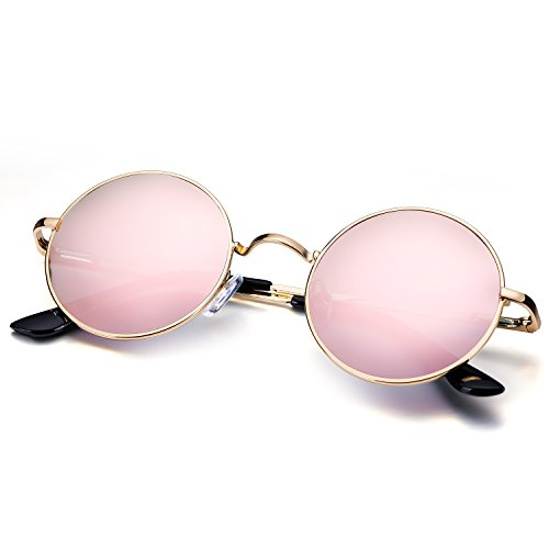 Menton Ezil Small Round Polarized Sunglasses Pink Mirrored Lens Glasses with Metal - Prescribed Eyeglasses