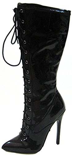 Highest Heel Women's Fierce-61 Lace Up Boot,Black Stretch Patent PU,US 6 M (Lace Up Stretch Boot)