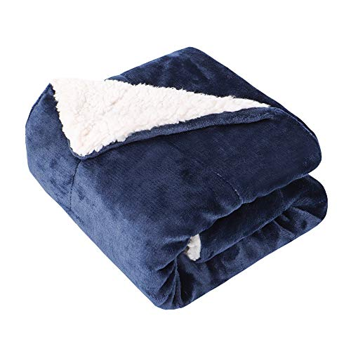 EMME Baby Blanket Fuzzy Sherpa Fleece Blankets Soft Warm Receiving Blankets for Toddler, Infant, Newborn, Boys and Girls Gift Reversible Cozy Blanket for Crib, Stroller, Nap, Outdoor, Decor (Navy)