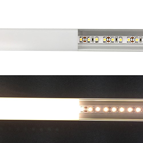 LightingWill 5-Pack U-Shape LED Aluminum Channel 3.28ft/1M Anodized Sliver Aluminum Track for <20mm width SMD3528 5050 LED Strips with Oyster White Cover, End Caps and Mounting Clips U04S5 by LightingWill (Image #3)