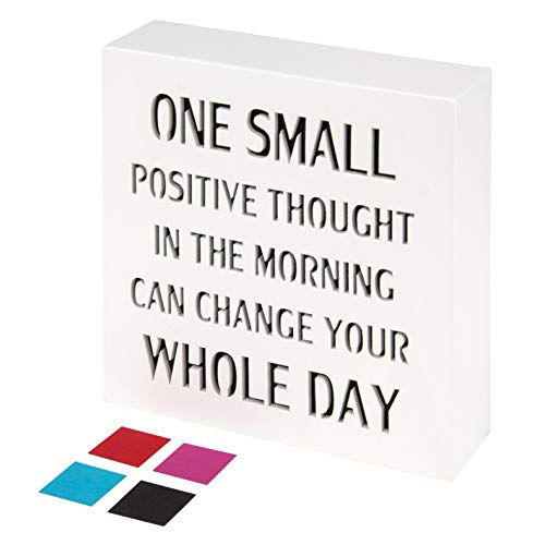 KAUZA One Small Positive Thought Inspirational Wall Art Plaques with Sayings Motivational Gifts Office Decoration 5.5 x 5.5 Inch ()