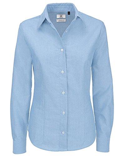 New B y C camiseta de manga larga traje de neopreno para mujer Oxford con tela de algodón para mujer patrones de costura para camisas Casual Oxford Blue