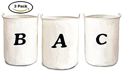 3-Pack Clothes Folding Laundry Hamper With Black Letter Printed,14 x 14 x 23-inch,Round,White,Honla - Hide Laundry Holder