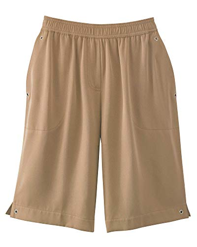 Alfred Dunner Women's 2019 Classics Pull-On Shorts (10, Tan)