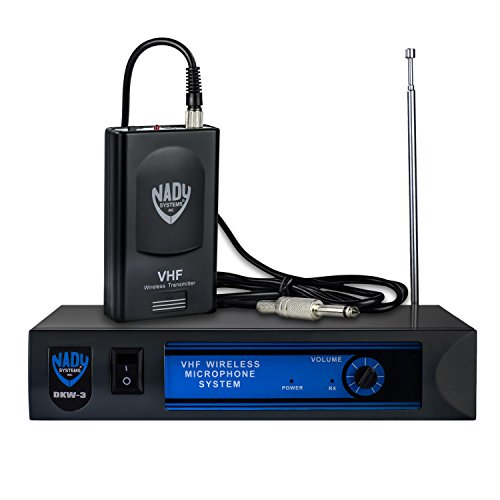 Nady DKW-3 GT VHF Wireless Guitar / Instrument System – includes wireless bodypack, receiver, AC adapter, guitar cable and audio cable – Easy setup – Electric guitar, bass, or other instruments with a pickup