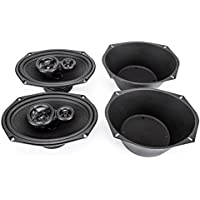 Skar Audio SK69 6 x 9 350W 3 Way Coaxial Speakers (1 Pair) with One Pair of 6 x 9 Universal Speaker Baffles