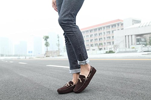 SUNROLAN Mens Fashion Dress Casual Leather Flats Driving Moccasin Loafer Shoes New Brown 17OH9
