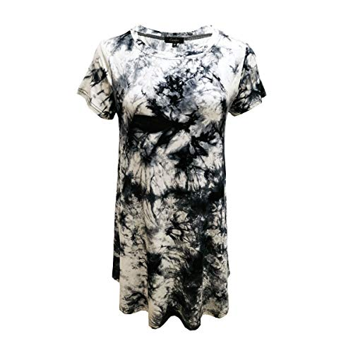 Womens Tunic Tops Short Sleeve Tie Dye A Line Tops (Large, Black White Tie ()