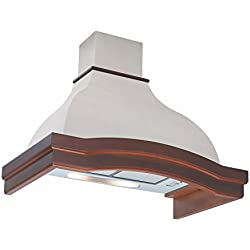 Futuro Futuro Orchid 36 Inch Wall-mount Range Hood, Classic Design, White Steel & Wood, Ultra-Quiet, with Blower