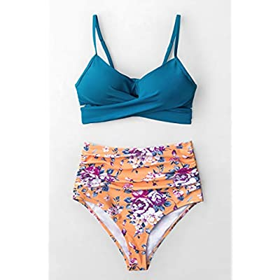 CUPSHE Women's Sapphire Blue Floral High Waisted Bikini Set: Clothing