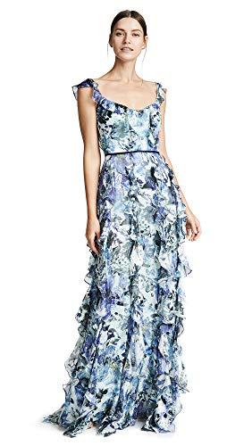 Marchesa Notte Women's Sleeveless Printed Burnout Silk Gown, Blue, 10 ()
