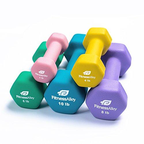Cheap Fitness Alley Neoprene Dumbbell 5 Pairs Set Coated for Non Slip Grip – Hex Dumbbells Weight Set – Neoprene Hand Weight Pairs – Hex Hand Weights Neoprene Dumbbells Combo (2lb,4lb,6lb,8lb & 10lb)