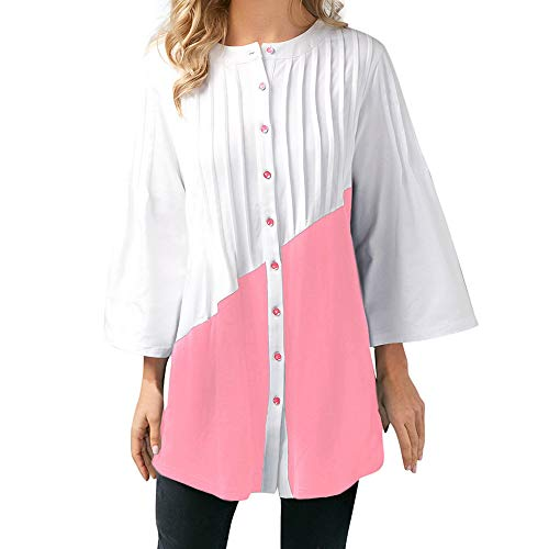 Denim Canyon Leggings (kaifongfu Womens Button Top,Three Quarter Sleeve Patchwork Tops (Pink,S))
