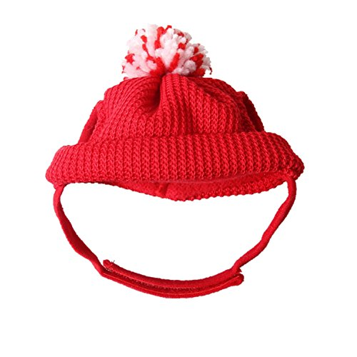 Girth Measurement For Costumes (CHUANGLI Pet Knitted Christmas Santa Hat with Ear Holes Clause Hat for Christmas Festival)