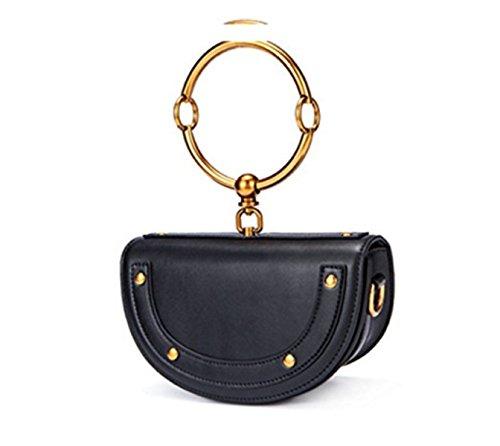 Bag Single La Brown Simple Anneau Half GSHGA Black Cuir Rond Femmes Rivet Véritable Mode en Poignée à Crossbody à Shoulder Moon YqwTap