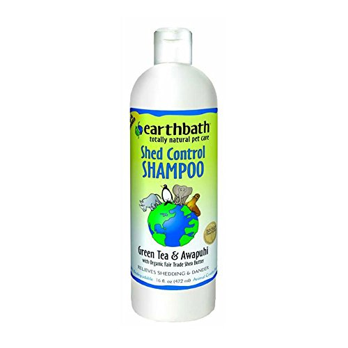 Earthbath All Natural Green Tea Shampoo Shed Control for Pets Dogs Cats, 16 oz