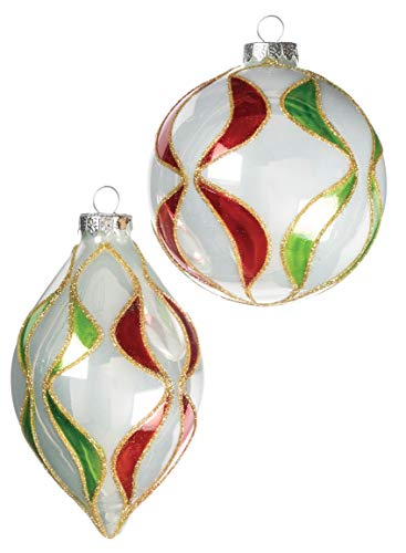 Sullivans Red, Green, and White Finial and Ball Christmas Ornaments, Set of 8 in 2 Styles, 4