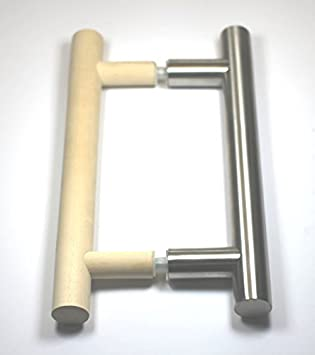 5895223HLOt 194 - Tirador para puerta de sauna (40 cm, de madera para el interior y acero inoxidable en el exterior, para puertas de cristal de saunas o cabinas de infrarrojos): Amazon.es:
