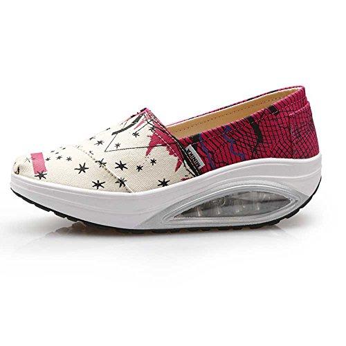 FangYOU1314 Canvas Air Cushion Step Shoes Zapatos de Mujer Respirables (Color : Rojo, tamaño : 40 EU) Rojo