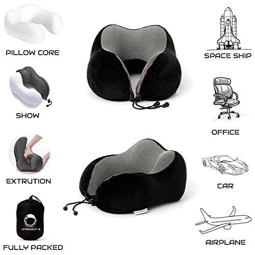 ASTRONAUT59 Travel Pillow | Neck Pillow for Travelling | Memory Foam Comfortable Design | Airplane travel | Suitable for Adults and Kids (Midnight