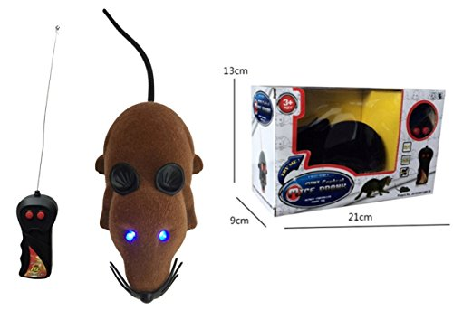Jack Seller@ Remote-Controlled Mice Prank, Mouse Toy for Cats with Blinking Eyes (LED-Mouse-Brown)