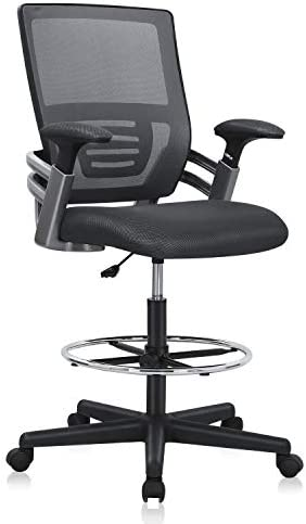 Mesh Drafting Chair Tall Office Desk Chair Swivel Rolling Executive Chair