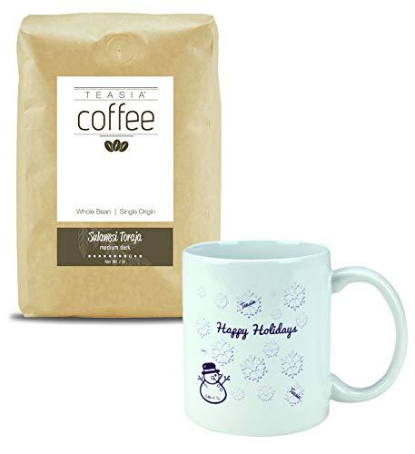 Teasia Coffee, Sulawesi Toraja, Single Origin, Medium Dark Roast, Whole Bean, 2-Pound Bag + Holiday Mug