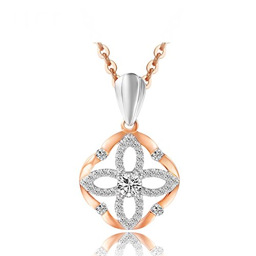 Daesar 18K Gold Necklace For Women Flower Hollow Cubic Zirconia Necklace Rose Gold Chain Length: 45CM by Daesar