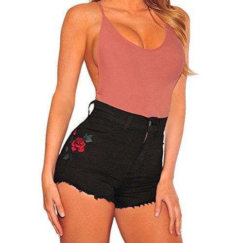 Floral Lisli Hot Fille Haute Fleur Taille Plage Femmes Et Noir Imprim Pants en Jean Jeans Short Shorts qxwAfrqHF7