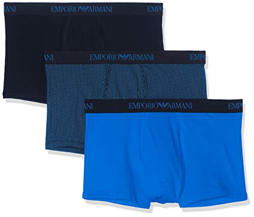 Emporio Armani Men's 3-Pack Cotton Trunks, Wave/Printed Marine, Large