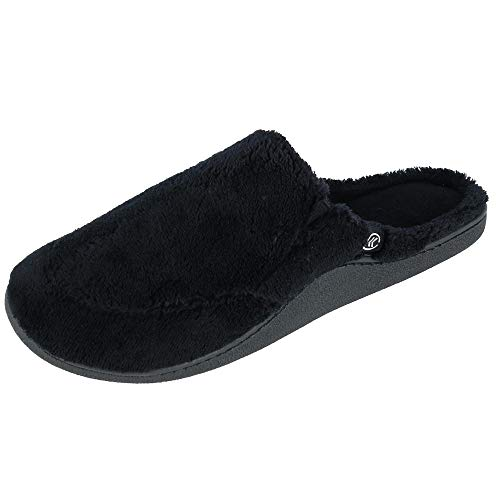 Isotoner Mens Microterry Clog Slippers Ebony Black X-Large 11-12
