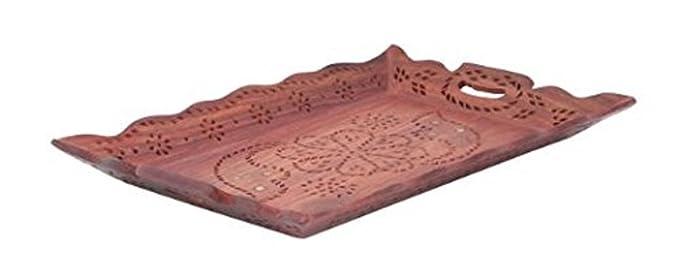 Bandeja de madera con grabados de latón, bandeja hecha a mano de madera, bandeja con mango, bandejas para servir, bandeja de color marrón, fuentes, ...