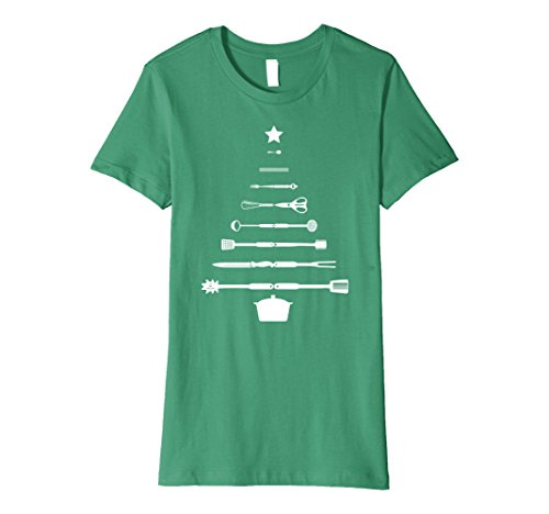 Womens Christmas Tree Chef Utensils Holiday Cooking T-Shirt XL Kelly Green