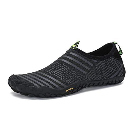Mens Womens Barefoot Gym Walking Trail Beach Hiking Wide Toe Box Water Shoes Aqua Sports Pool Surf Waterfall Climbing Quick Dry Black 11.5 M US Women / 10 M US Men