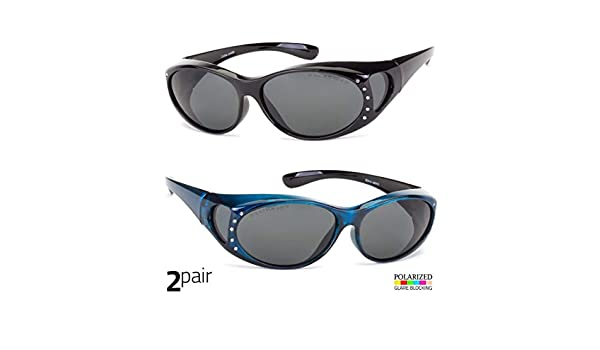 2 PAIR POLARIZED Rhinestone cover put over Sunglasses wear Rx glass driving Purp