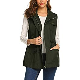 Beyove Womens Lightweight Sleeveless Military Anorak Cargo Vest Hooded/No Hood