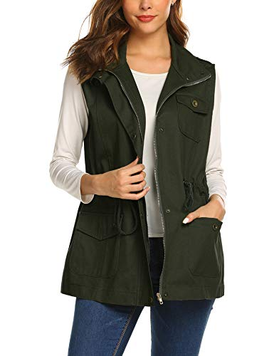(Beyove Womens Lightweight Sleeveless Military Anorak Vest)