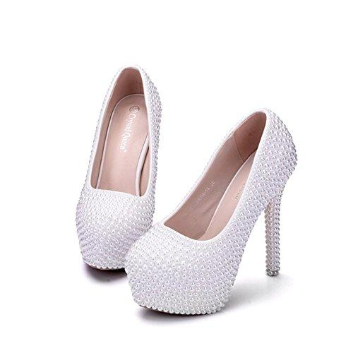 Boda Nupcial Zapatos Mujer Zapatillas Cerrado Dedo del pie Plataforma Alto Tacón Blanco Perla Noche Pasadizo Señoras Corte Zapatos tamaño 35-41 White