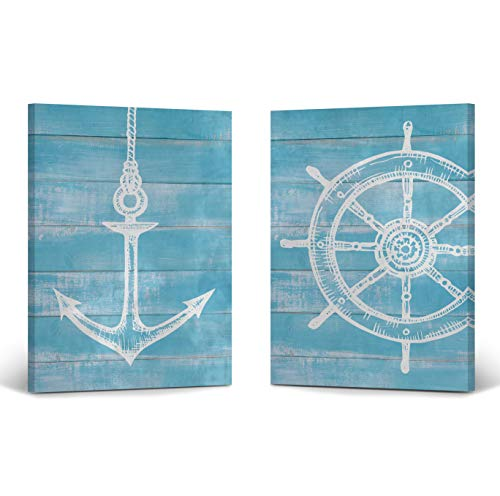 Anchor and Ship Wheel White Illustration Blue Wooden Background Nautical Decor 2 Panel Canvas Print Set Coastal Wall Art Home Decor Stretched Ready to Hang-%100 Handmade in The USA- (12x8) x2 (Art Coastal View Wall)