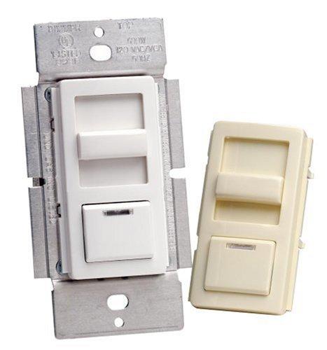 Leviton IPI06-1LM 600 Watt, IllumaTech Preset Electro-Mechanical Incandescent Slide Dimmer, LED Locator - White and Almond