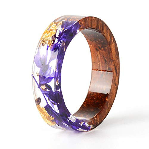 (NDJEWELRY Unique Handmade Dried Flower Ring Wood Resin Ring with Gold Foil Violet Bloom Flower Ring Best Gift for Her Size 8)