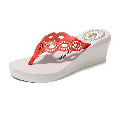 VOWAN Women's Bling Rhinestone Wedge Platform Flip Flops Sparkly Beaded High Heel Summer Non-Slip Sandals Grey